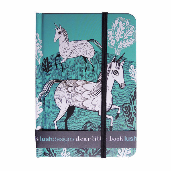 Lush designs hard-backed notebook with unicorn print in turquoise