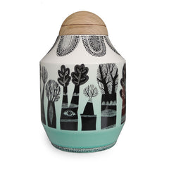 Lush Designs hand made ceramic jar with black tree print and dipped jade coloured glaze and domed wooden lid in oak