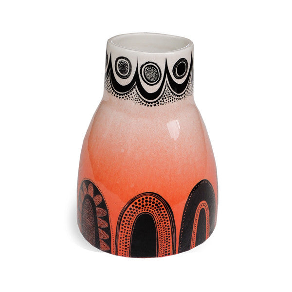 Lush Designs wonky ceramic vase with vermillion red orange colour-washed glaze and graphic black print