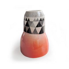 Lush Designs irregular geometric triangle design vase in orange and black
