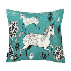 Lush Designs unicorn print cushion in vibrant turquoise