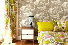 Lush Designs fox wallpaper in putty pictured here with Beegarden bedlinen and Linden lamp