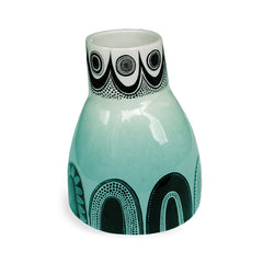 Lush Designs wonky ceramic vase with turquoise colour-washed glaze and graphic black print