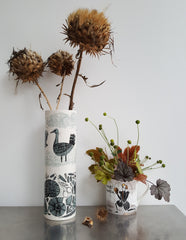 Lush Designs Hamlet mug with autumn flower arrangement and vase with print of Great Bustards