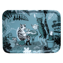 Lush designs small tray with illustrative design of cats in the garden drinking tea