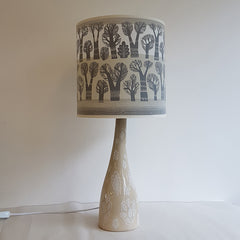 Lush Designs ceramic lamp base with tree print shade