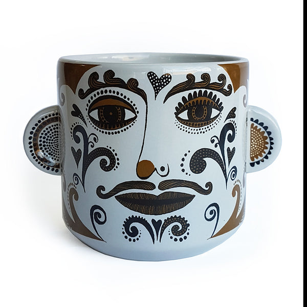 Clown plant pot (pale grey/tobacco) Curly Moustache