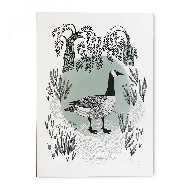 Lush designs digital print of Canada Goose, pond and willows
