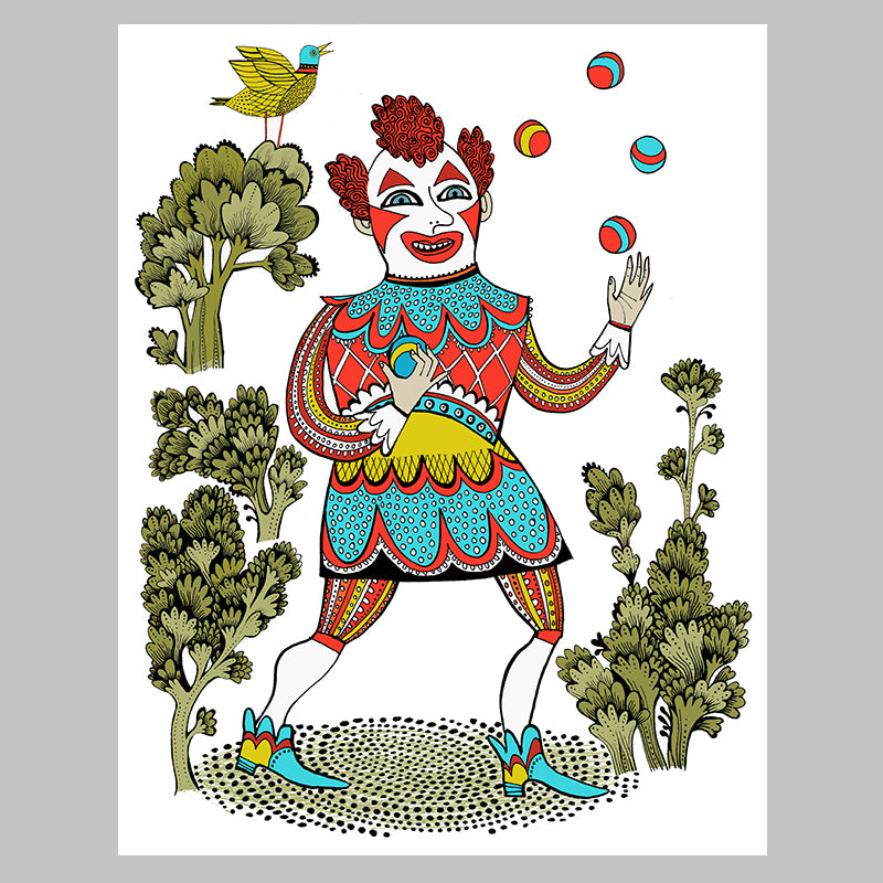 Clown, Joseph Grimaldi juggling balls whilst a yellow bird tweets in a tree