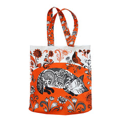 Lush Designs canvas tote bag with print of black and white patterned sleeping cat on orange floral background