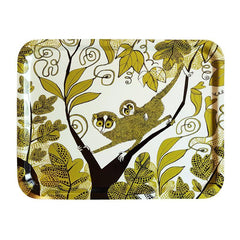 Melamine-faced birch ply tray with print of Lorises in the jungle in yellowy green and black