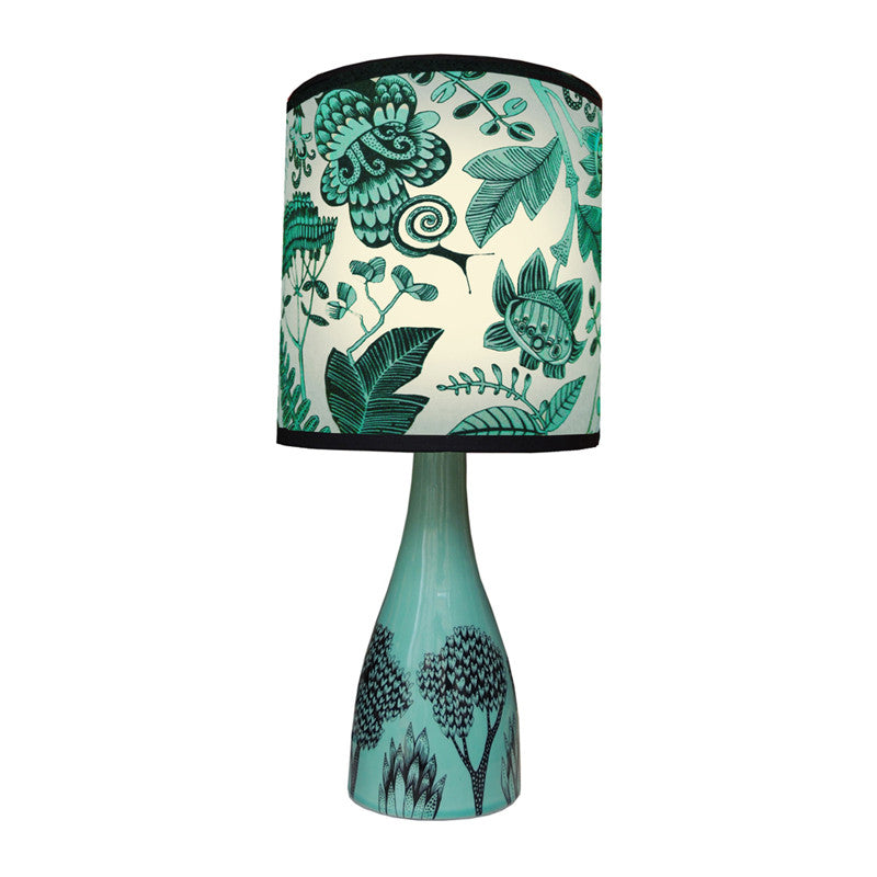 Turquoise Glazed Ceramic Lamp Base With Tree Print In Black Shown With  Turquoise Floral Shade