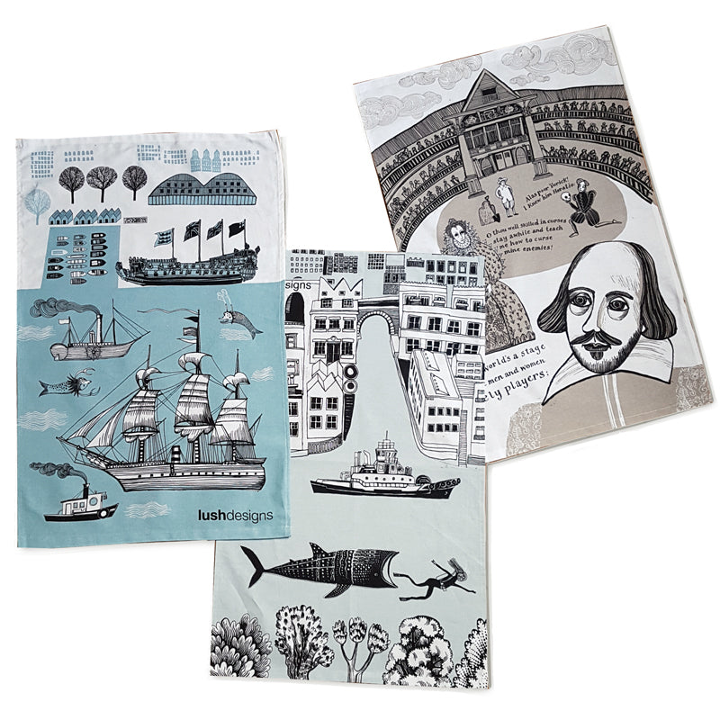 Three cotton tea towels with London and Thames river illustrated themes.