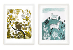 Loris and unicorn prints in white frames