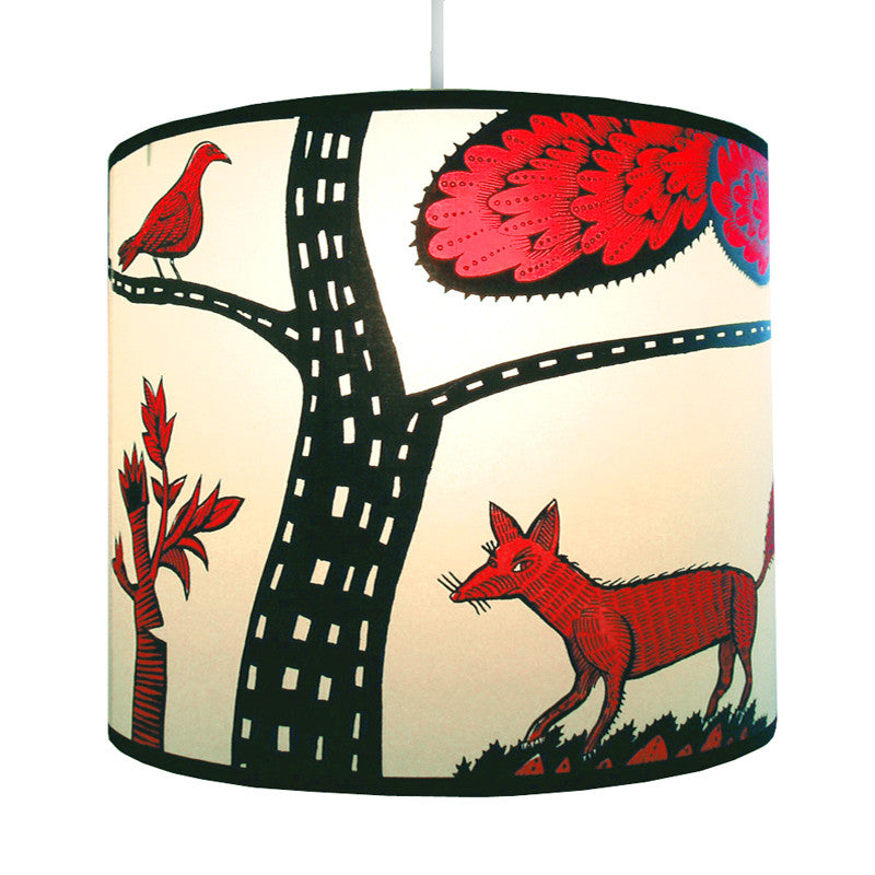 Lush Designs fox lampshade in red and black
