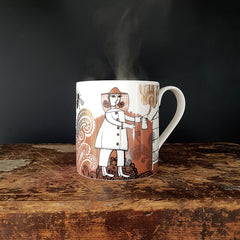 Mug printed with a beekeeper in toffee brown and gold lustre