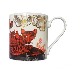Lush Designs bone china mug with fox an d cubs print in red, black and gold