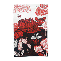 Lush Designs Fox and cubs print tea towel printed in black, red and white