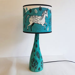 Lush designs lamp in turquoise with unicorn shade