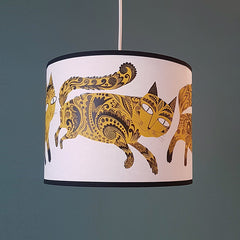 Lush Designs cat print lampshade in mustard and black