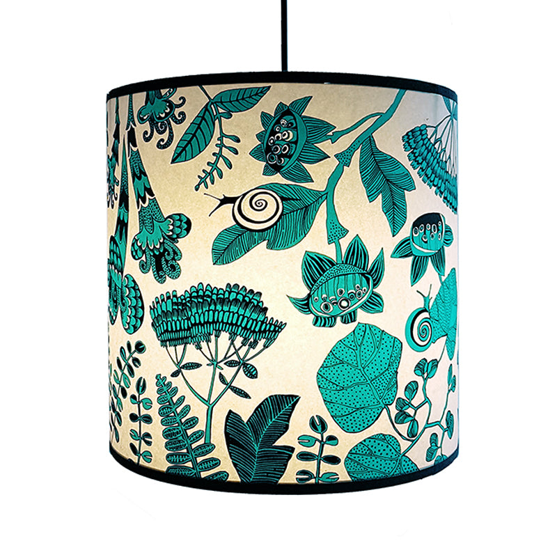 Lush Designs lampshade with floral print in turquoise and black