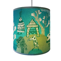 Lush Designs lampshade in turquoise and green featuring print of fancy-dress tudor garden party