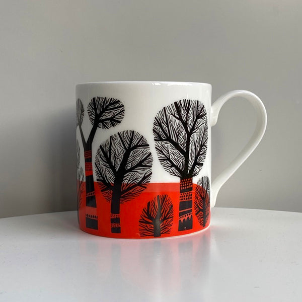 Winter Trees mug, orange