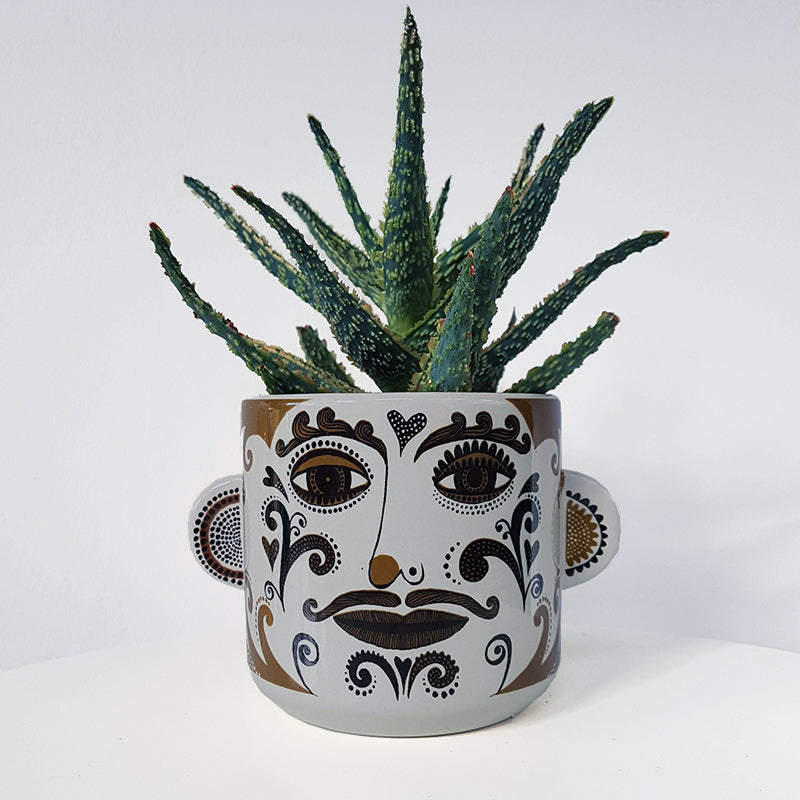 Lush Designs plant pot printed with man