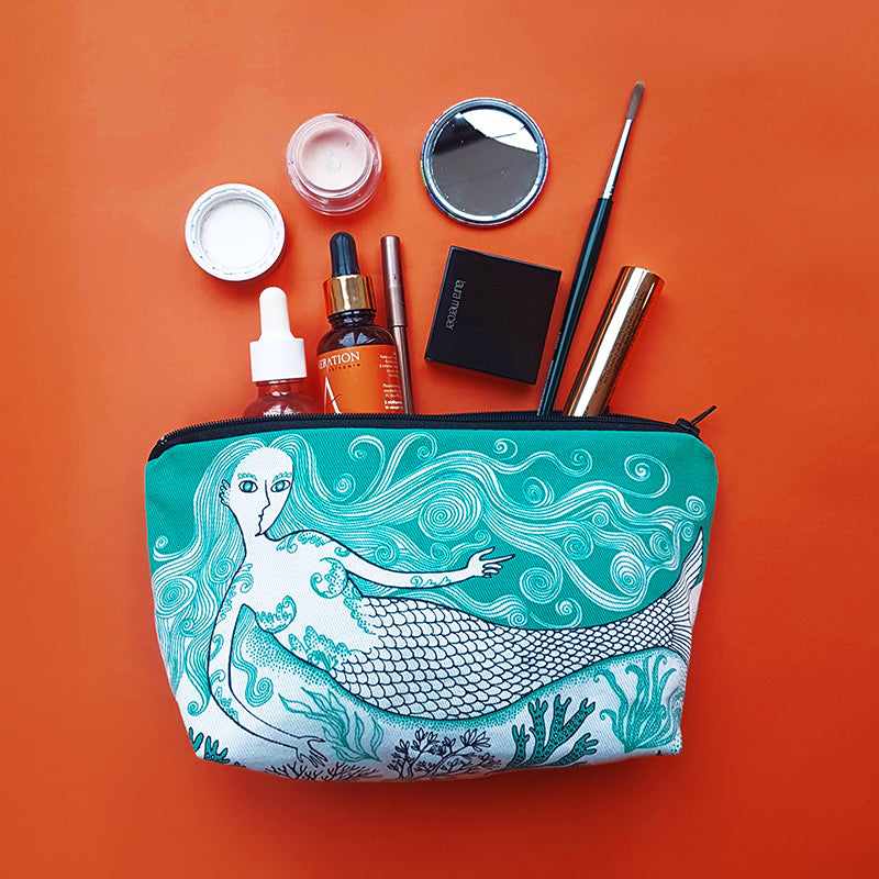 Zipped makeup bag pouch printed with mermaid designs
