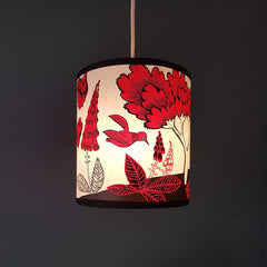 Fox & Cubs Lampshade - Red/Black
