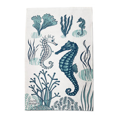 Lush Designs tea towel with print of tea towel in shades of blue