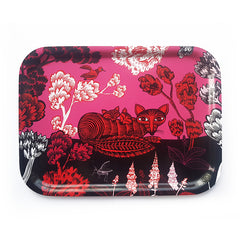 small tray printed with picture of a fox in red, pink and black