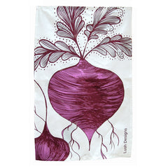 Lush Designs beetroot print tea towel or dish towel in pink and purple on white.  Pure cotton, made in England