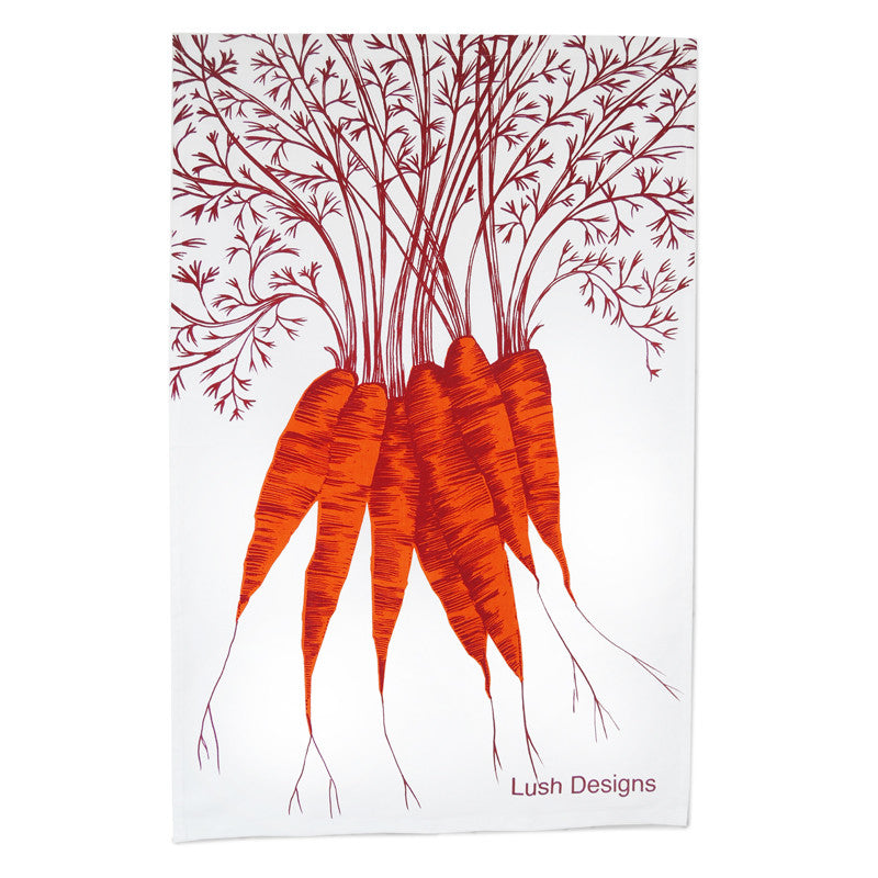 Lush Designs cotton tea towel with orange carrot design