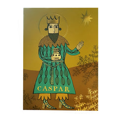 Gold-embellished Christmas card depicting Caspar bearing the gift of Frankinsense