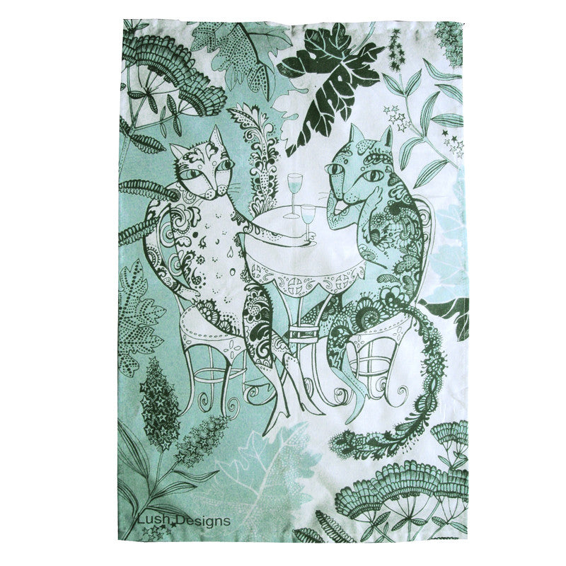 Lush Designs shades of peppermint green design of cats drinking wine in a floral garden on a cotton tea towel.  made in UK