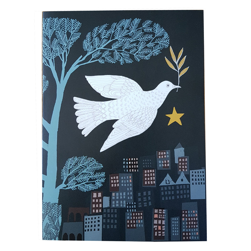 Lush Designs Christmas card with gold star and white dove of peace
