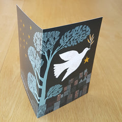 Lush Designs christmas card with dove and gold star shown open