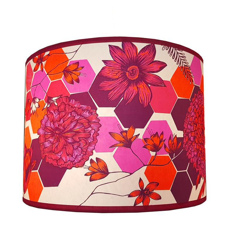Lush designs lampshade with floral and geometric print in hot pink, purple and orange