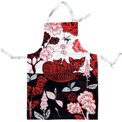 Lush Designs Fox design cotton apron in red and black