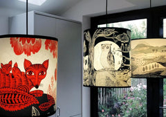 Lush Designs lampshades with prints of a fox in red, and owl in black in a room setting