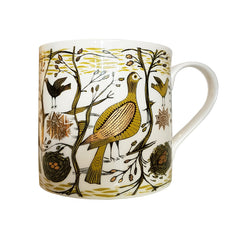 Lush Designs bone china mug decorated with birds, trees and nests in mustard yellow, gold and black