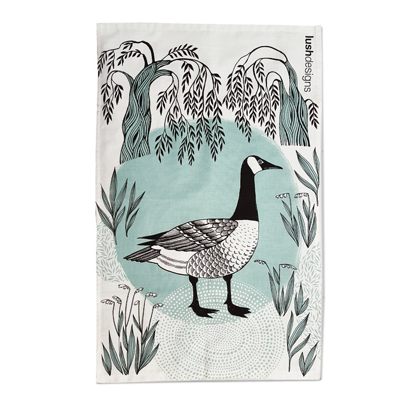 Lush designs tea towel with print of canada goose in black and minty green