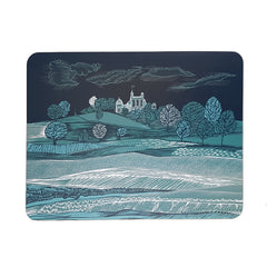 Lush Designs table mat with scene of Greenwich Park in shades of blue green