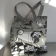 Lush Designs dog print bag with pug and bedlington terrier printed in grey black and white