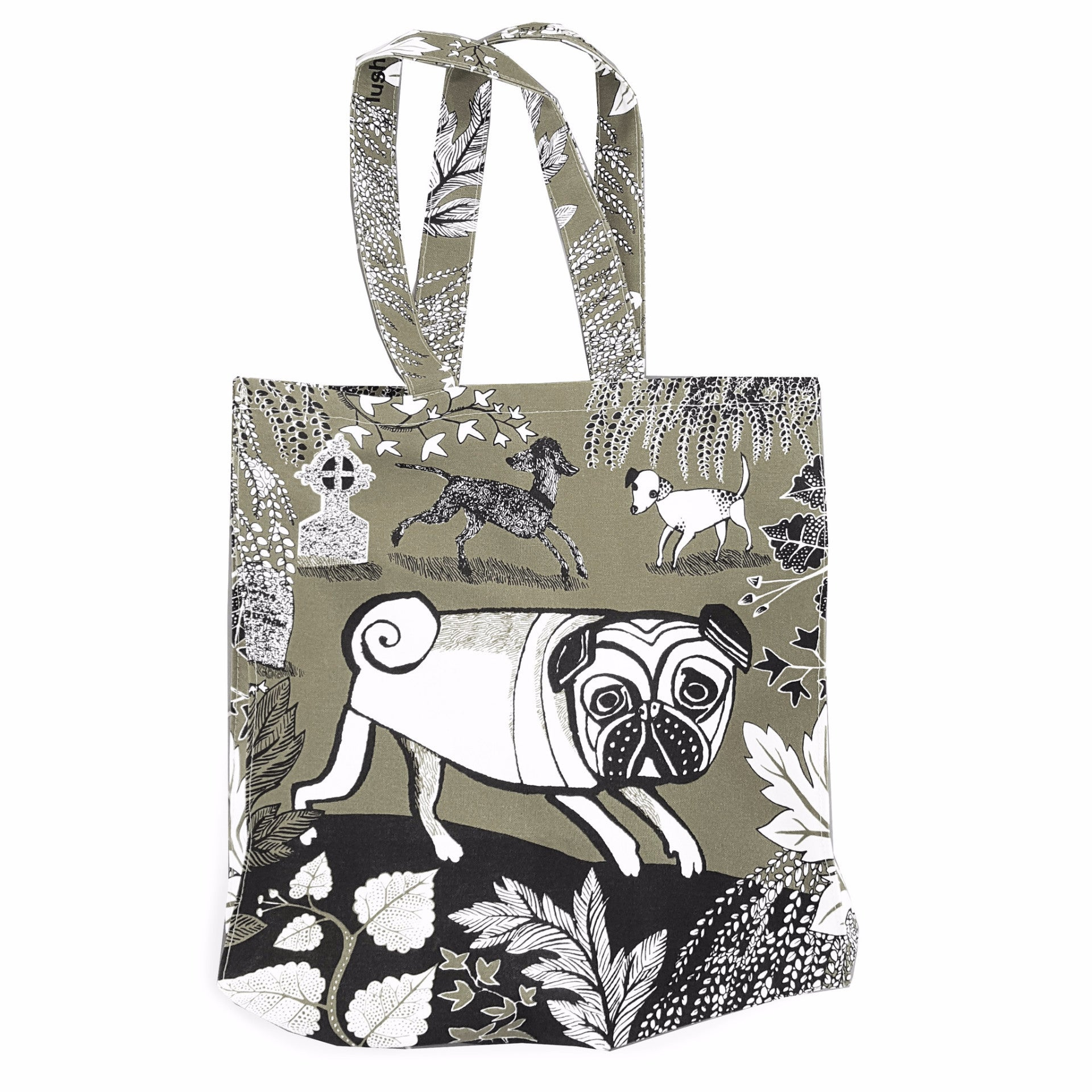 Lush Designs dog print bag with flossie the pug, Bedlington lurcher truffy and little spotty Dottie