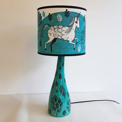 Lush Designs lamp base in turquoise with leaf design and unicorn print lamp shade