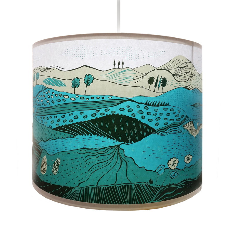 Lush Designs lampshade printed with a landscape of rolling hills in gorgeous greens
