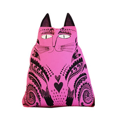 Lush Designs 60s style pink cat-shaped kitty cushion
