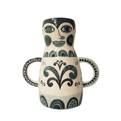 Lush Designs vase that is shaped like a funny-faced lady with handles that look like arms